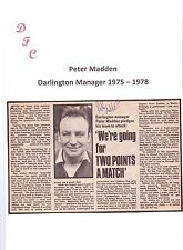 PETER MADDEN DARLINGTON MANAGER 1975-1978 ORIGINAL HAND SIGNED NEWSPAPER CUTTING