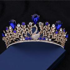 Royal Blue Baroque Peacock Rhinestone Bridal Crown Tiara Bride Hair Accessories