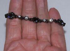 """GIVENCHY Bracelet bezel set Swarovski Smoky  Clear crystals Tear drop & round 7"""""""