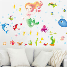 Lovely Mermaid and fishes Wall Stickers For Girls Bedroom Window Wall Decals eL