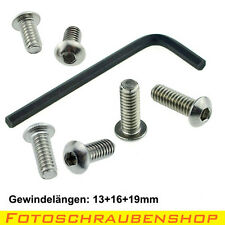 """6 x 1/4""""-Linsenkopf-Fotoschrauben mit Innensechskantschlüssel (Kameraschrauben)"""