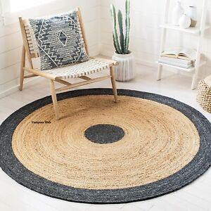 Rug Natural Braided Jute reversible rustic look Dining area Home Decor black rug
