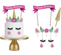 11pcs Unicorn Glitter Cake Topper Happy Birthday Candle Party Supplies Decor DIY