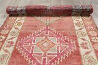 Oushak Oriental Runner Rug Hand-Knotted Geometric 3 x 13 Vintage Ushak Carpet