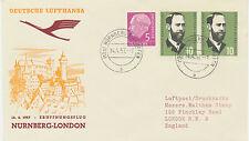 "2415 1957 First Flight German Lufthansa (West) Convair CV-440 ""NUREMBERG–LONDON"""