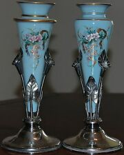Pair Blue Floral Vases On Silverplate Calla Lily Stand Made Middletown Plate Co