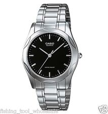 MTP-1275D-1A Black Casio Men's Watch Stainless Steel Analog Water Resistant New