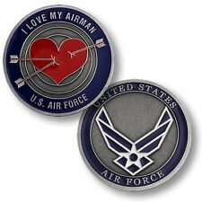 I Love My Airman Challenge Coin USAF US Air Force Spouse Girlfriend Fiance Heart