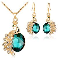PEACOCK CRYSTAL NECKLACE CHAIN EARRING SET CRYSTAL WEDDING PARTY