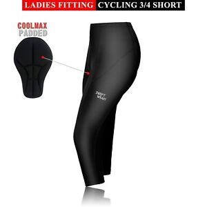 Ladies Womens Cycling Tights 3/4 Shorts Padded Leggings Cool Max Anti Bac Pad