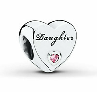 Pandora Daughter Heart Charm Genuine S925 ALE Sterling Silver bead Birthday gift
