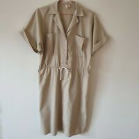 Vintage 80s Target Safari Military Shirt Dress M Tie Waist Cotton Blend Pockets