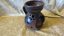 Teelichthalter aus Keramik braun Höhe ca. 12 cm, Deko Windlicht Teelicht