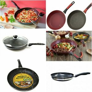 Non Stick Frying Pan Granite Marble Coated For Gas Induction Electric Hob 28cm