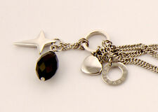 HB00040 Silver Stainless Steel Bracelets with Heart, Star Pendant & Blck Crystal