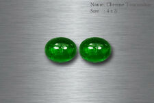 4x3 MM BEAUTIFUL SUPERB GREEN NATURAL CHROME TOURMALINE OVAL CAB!! MATCHING PAIR