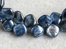 Natural Blue Kyanite Smooth Double Polish Cushion Briolette Gemstone Beads 7pcs