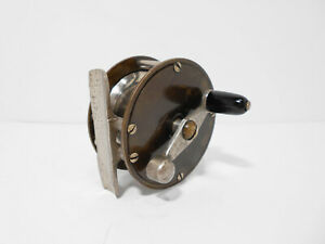 """Vintage Antique Allcock 2 1/2"""" Brass Crankarm Trout Fly Fishing Reel - Nice"""
