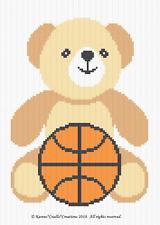 Crochet Patterns - SPORTS - TEDDY  BEAR - BASKETBALL Baby Color Graph Pattern