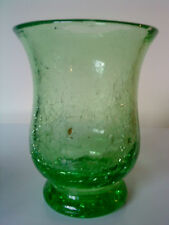 "Green uranium crackle Glass vase. 6"" tall"
