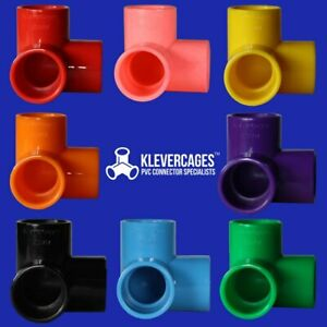 """Coloured 3 way elbow connector fitting 20mm 3/4"""" 8 colors fits PVC pipe"""
