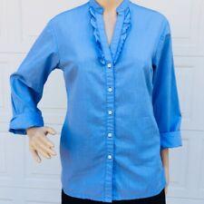 Brooks Brothers Women XS (4 - 6) Blue Small Check Cotton Ruffle Shirt Blouse