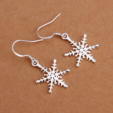 Fashion Earring Jewelry 925 Sterling Silver Snowflake Dangle Drop Hook Ear Studs