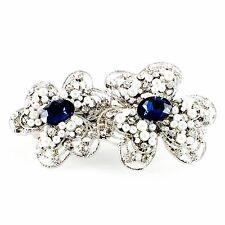USA WOMENS PEARL BARRETTE Rhinestone Crystal Hair Clip Hairpin Elegant Blue 5_1