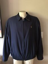 Rare VTG POLO RALPH LAUREN Blue Zip Jacket Coat w/ Collar Men's Large