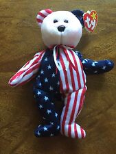 """Spangle"" Ty Beanie Baby Authentic - 1999 Patriotic USA Style Rare Teddy Bear"