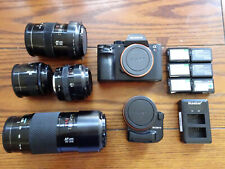 Sony Alpha A7R II 42.4 MP Budget Camera Kit, LA-EA4, Minolta Lenses, Batteries