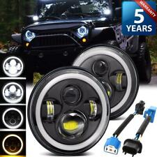 "2X 7"" LED Headlights Halo DRL Angel Eyes Hi-Lo Beam for Jeep Wrangler JK H4-H13"
