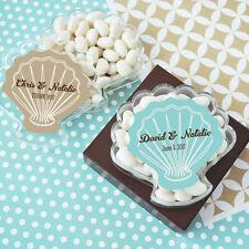 24 Personalized Acrylic Seashell Bridal Shower Wedding Favor Boxes