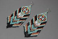 Turquoise Native American Beaded Earrings, Large Dangle Seed Bead Earrings
