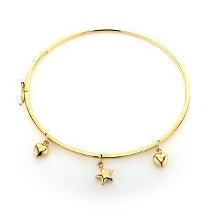 9ct Gold Bangle Braclet Charm Heart And Stars Hallmark RRP£516
