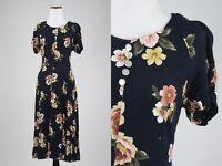 Vintage 90s 100% Rayon Kathie Lee Princess Seams Floral Maxi Dress S