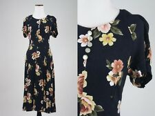Vintage 90s 100% Rayon Kathie Lee Princess Seams Floral Maxi Dress S