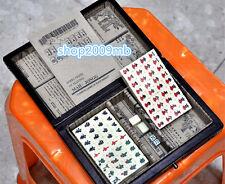 Mini Portable Retro Chinese Mahjong Jongg Majiang 144 Tiles W/ Mahjong Box Gift