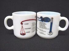 Rare Lot 2 vtg milk glass mugs Liquid Measure Weight Conversion Table no marks