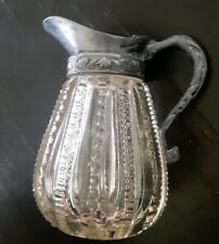 Vintage Cut Glass Creamer Syrup Pitcher