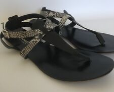 A. Giannetti Made In Italy Flat Sandals Black & Snakeskin Women's Size 8