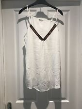 Brave Soul White Vest Cami Top Blouse Sleeveless Size L Large V Neck Aztec Trim