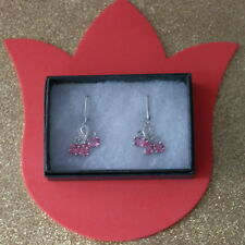 Luxury 925 Silver Earrings With Pink Sapphire & White Cz.7 Gr.3.5 Cm.Long In Box