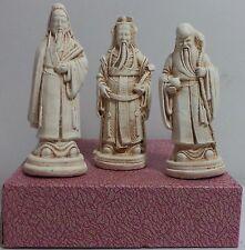 VHTF CHINESE IMMORTAL GODS FU, LU & SHOU VTG CERAMIC STATUES NIB
