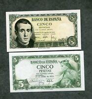 LOTE 2  BILLETES  5 pesetas 1954  Y 5 PESETAS 1951  los 2 de la foto LOS DOS SC