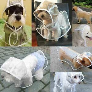Waterproof S/M/L/XL Pet Raincoat Dog Puppy Clothes Jacket Vest Rainwear Hood#