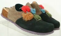 Think 83345 Black Fuzzy Patches Comfort Flat Slip On Mules shoes 37 Women's 6.5