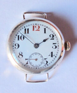 SILVER TRENCH WATCH 1915 WORKING