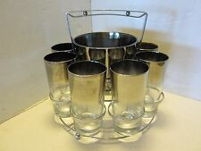 Dorothy Thorpe SILVER FADE Bar 10 pc Set Caddy 8 Tumblers Ice Bucket MCM Retro