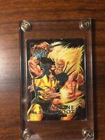 marvel masterpieces 1992 Card 3-D Wolverine Vs Sabretooth Foil